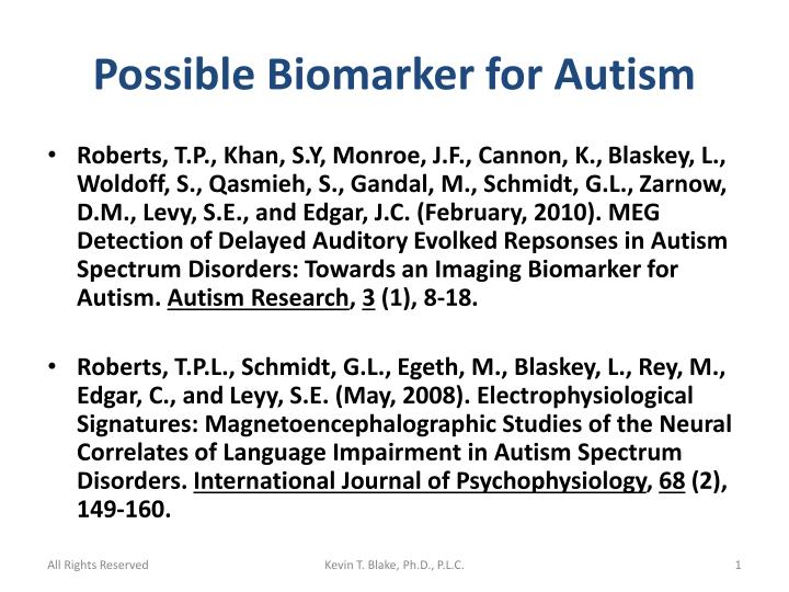 Possible biomarker for autism