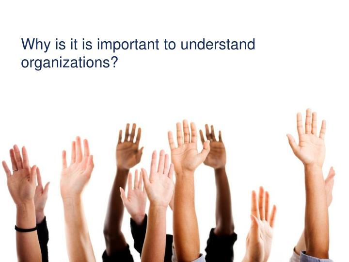 Why is it is important to understand organizations