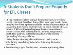 a students don t prepare properly for efl classes