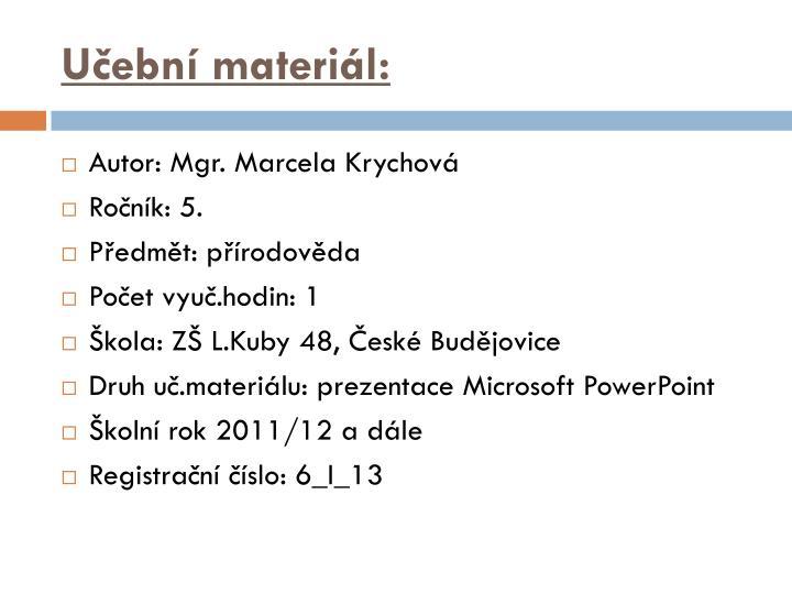 Učební materiál: