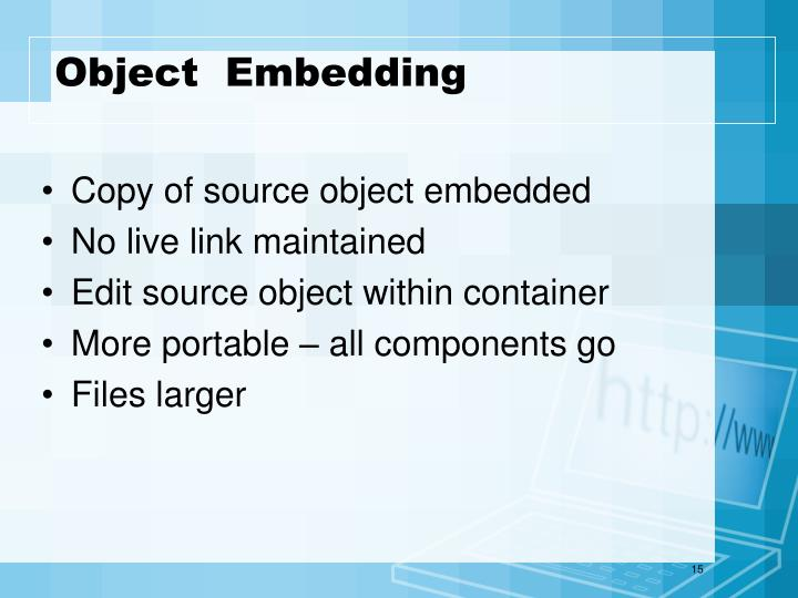 Object  Embedding