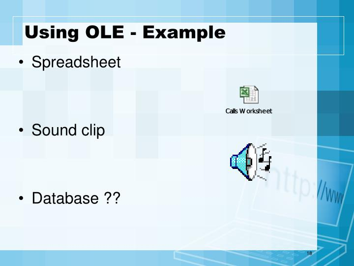 Using OLE - Example