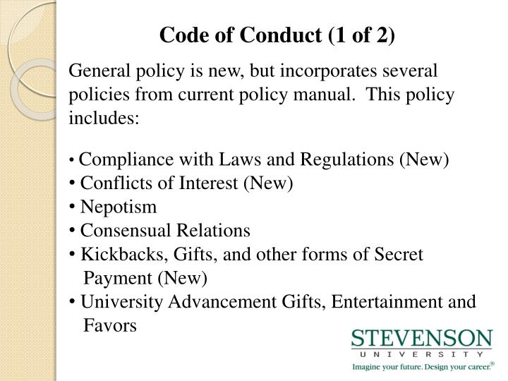 Code of Conduct (1 of 2)