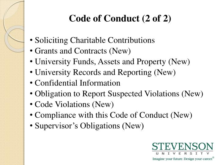 Code of Conduct (2 of 2)
