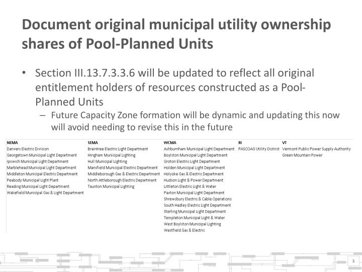 Document original municipal utility ownership shares of pool planned units