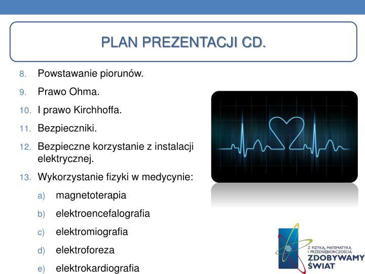Plan prezentacji Cd.