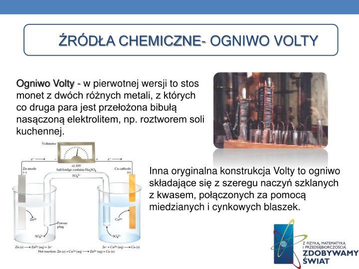 Źródła chemiczne- ogniwo Volty