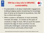km has a key role in driving sustainability