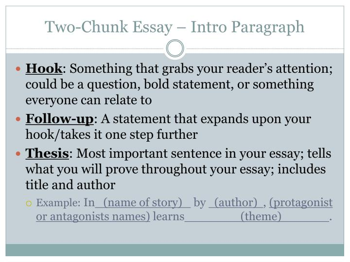 Two chunk essay intro paragraph