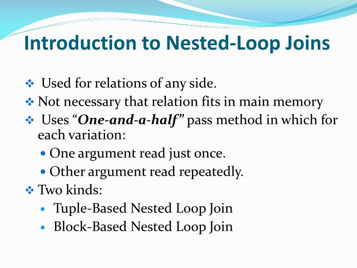 Introduction to nested loop joins