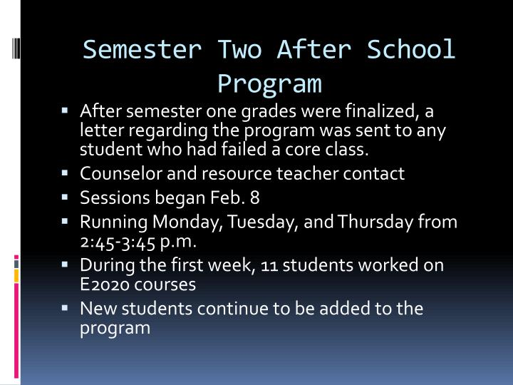 Semester Two After School Program
