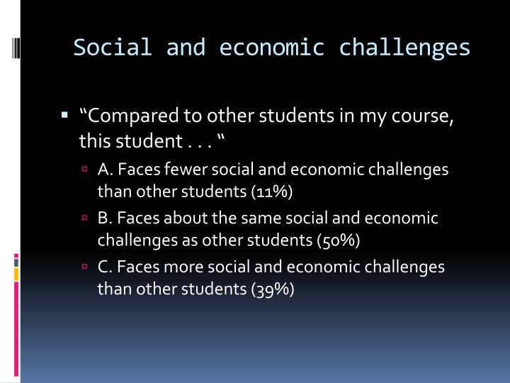 Social and economic challenges
