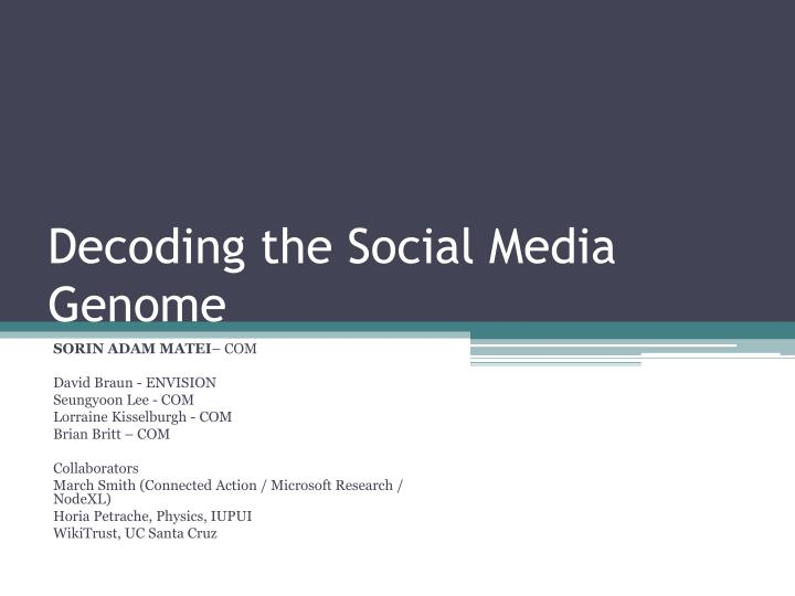 Decoding the social media genome