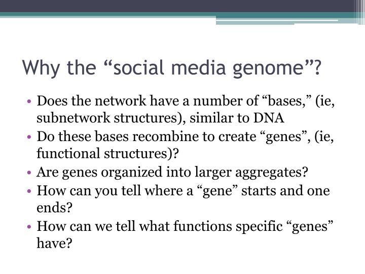 "Why the ""social media genome""?"