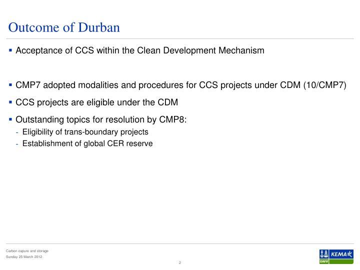 Outcome of durban