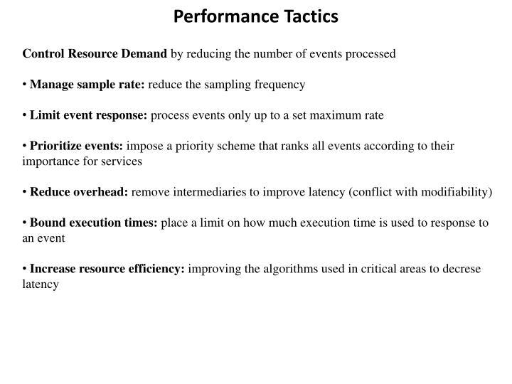 Performance Tactics