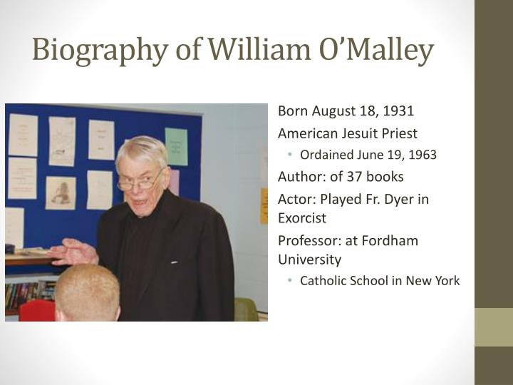 Biography of william o malley