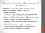 promotion of students oral performance and communication7