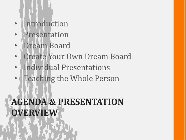 Agenda presentation overview