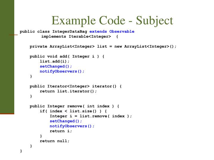 Example Code - Subject
