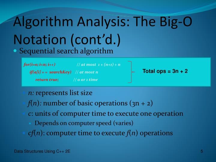 Algorithm Analysis: The Big-O Notation (cont'd.)