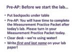 pre ap before we start the lab