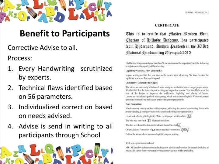 Benefit to Participants