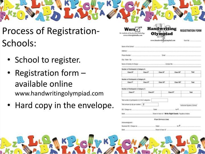 Process of Registration- Schools: