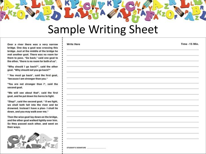 Sample Writing Sheet