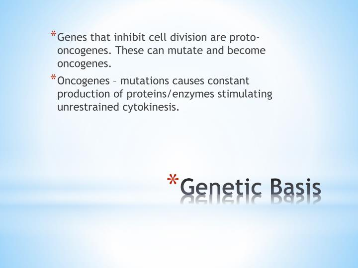 Genes that inhibit cell division are proto-oncogenes. These can mutate and become oncogenes.