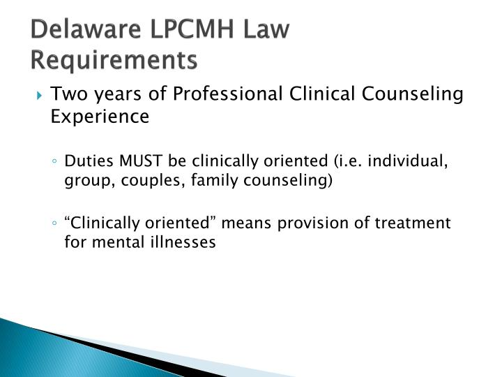 Delaware LPCMH Law
