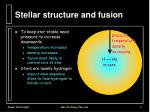 stellar structure and fusion