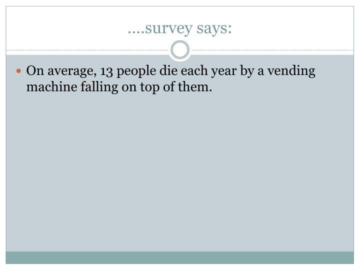 ….survey says: