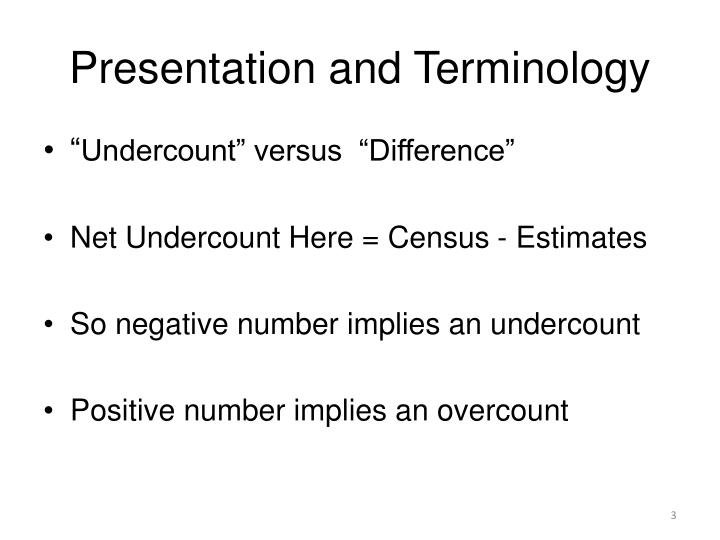 Presentation and terminology