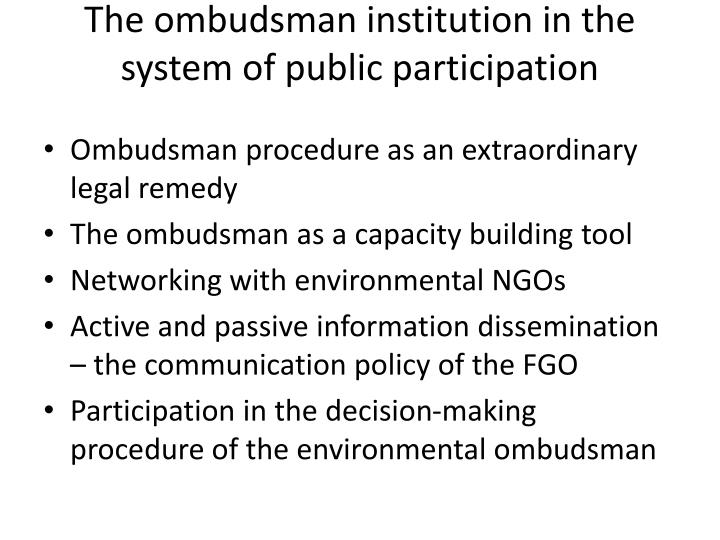 The ombudsman institution in the system of public participation
