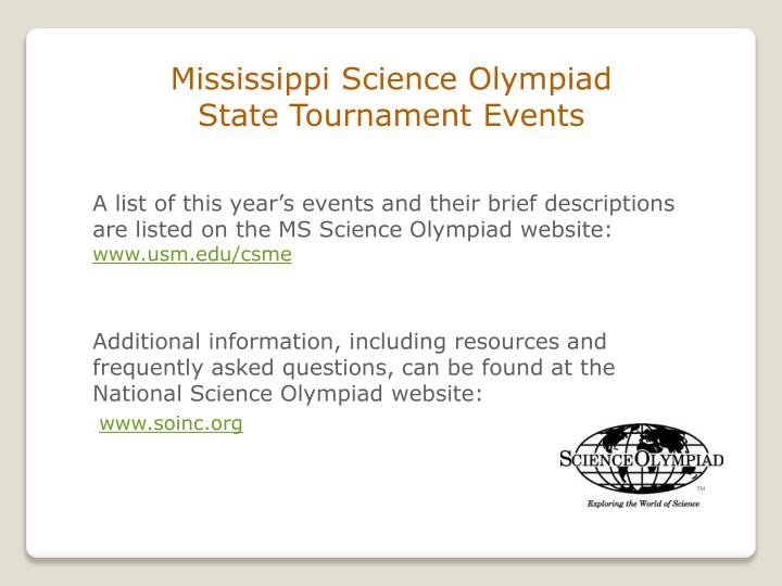 Mississippi Science Olympiad                          State Tournament Events
