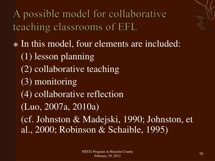 A possible model for collaborative teaching classrooms of EFL