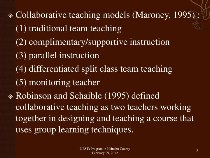 Collaborative teaching models (
