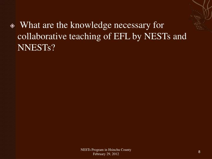 What are the knowledge necessary for collaborative teaching of EFL by NESTs and NNESTs?