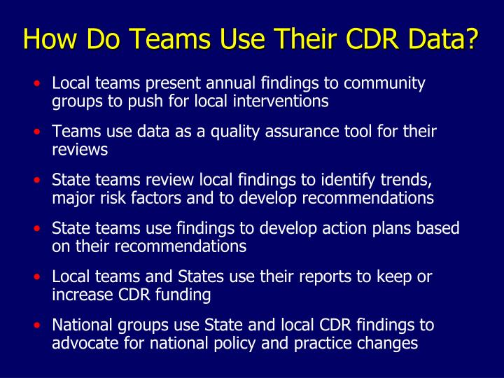 How Do Teams Use Their CDR Data?