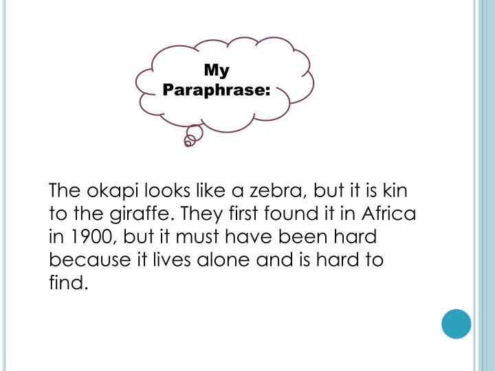 My Paraphrase: