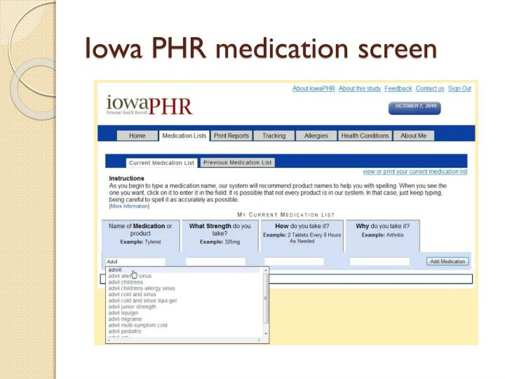 Iowa PHR medication screen