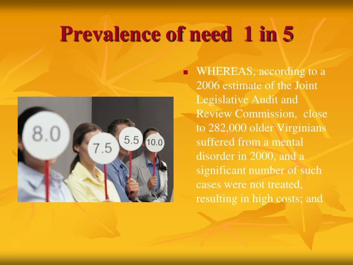 Prevalence of need  1 in 5