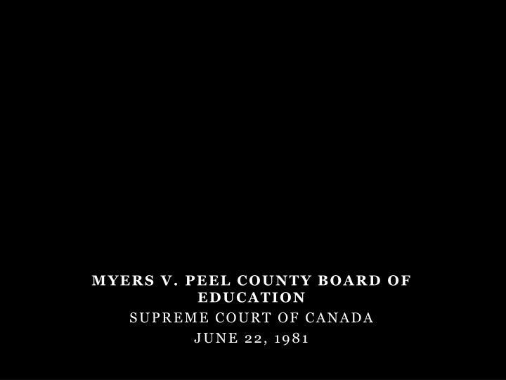 Myers v. Peel County Board of Education