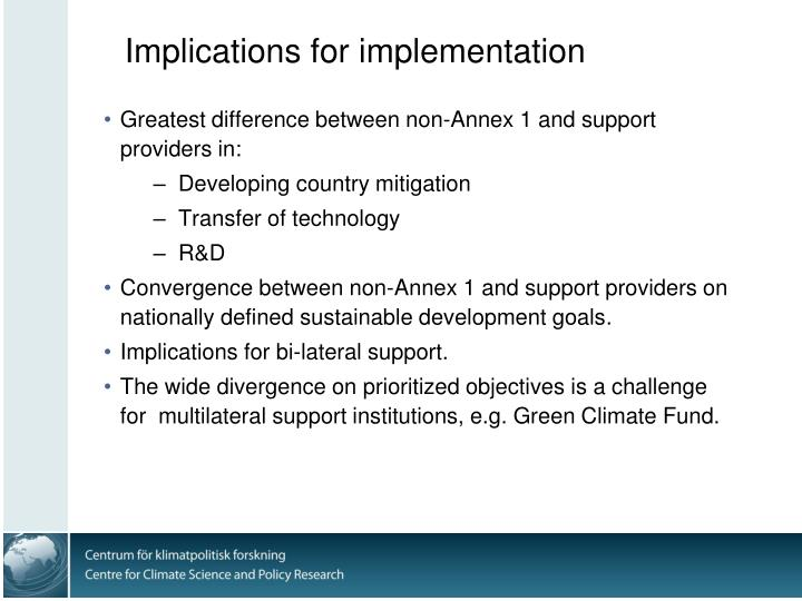 Implications for implementation