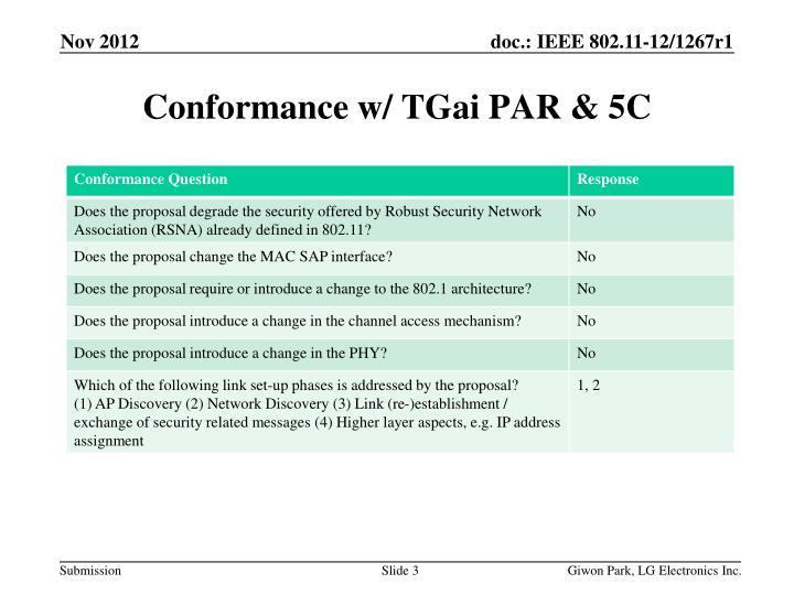 Conformance w tgai par 5c