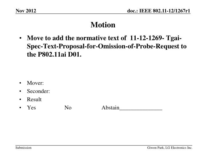 Move to add the normative text of  11-12-1269-