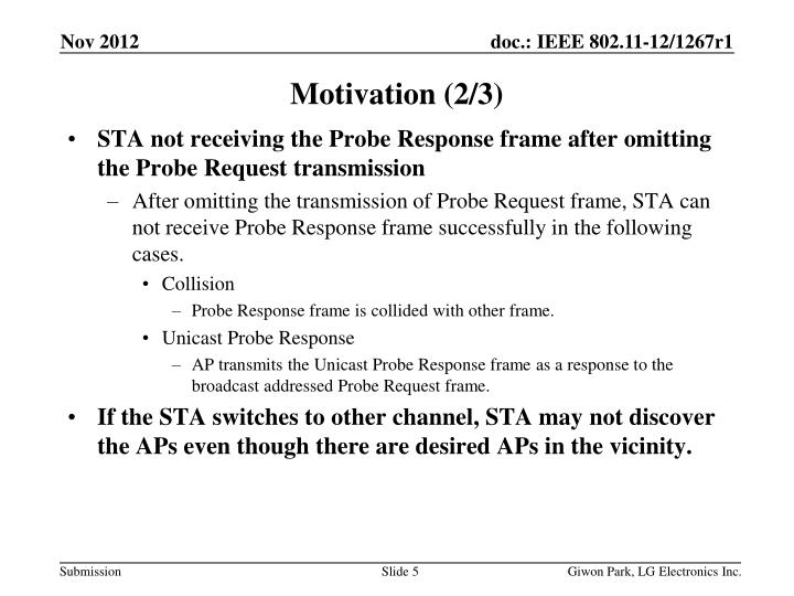 STA not receiving the Probe Response frame after omitting the Probe Request transmission