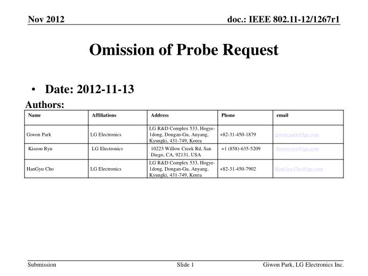 Omission of probe request
