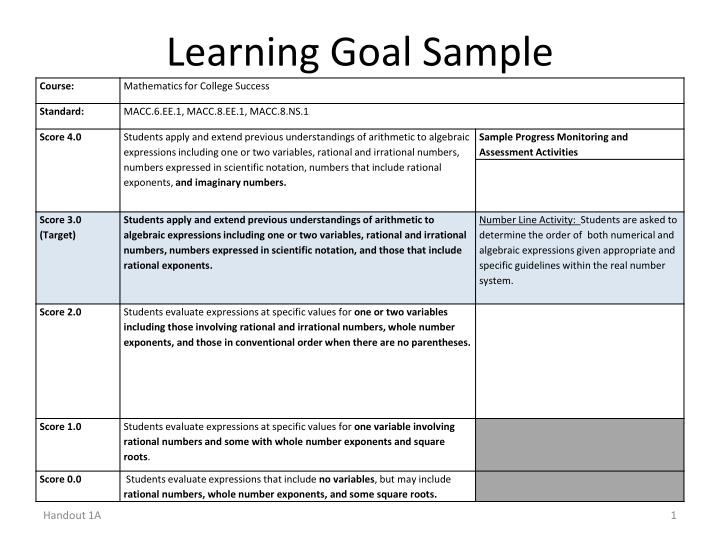 learning goal sample n.